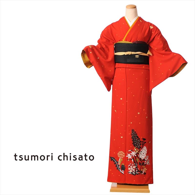ツモリチサト tsumori chisato 訪問着 レンタル 着物レンタル レンタル着物 レンタル訪問着 着物 貸衣装 赤 ステッチフラワー 付下げ訪問着レンタルフルセット 149cm~167cm位まで 足袋・肌着プレゼント 8AD78