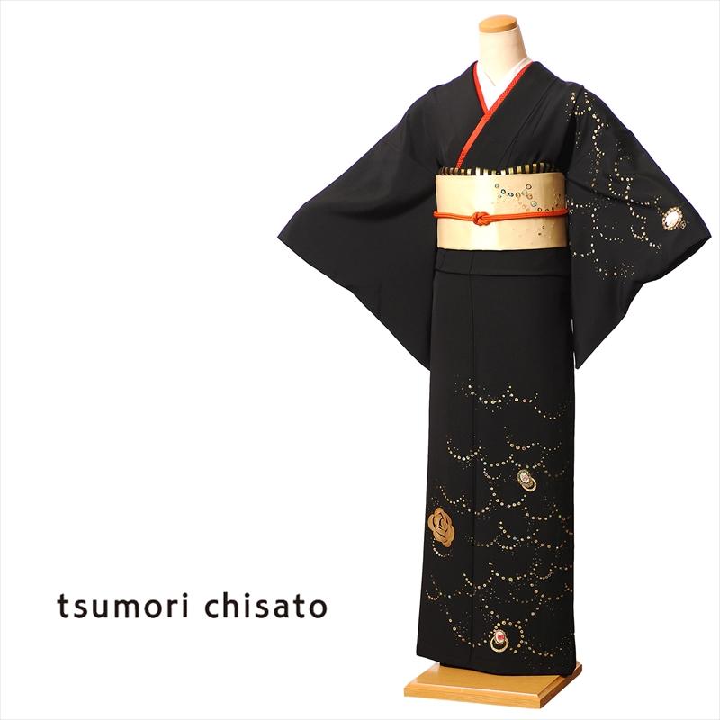 ツモリチサト tsumori chisato 訪問着 レンタル 着物 正絹 フルセット 8AD264 レンタル訪問着 お呼ばれレンタル 黒 パールバラ 150cm~170cm位まで 足袋 肌着プレゼント