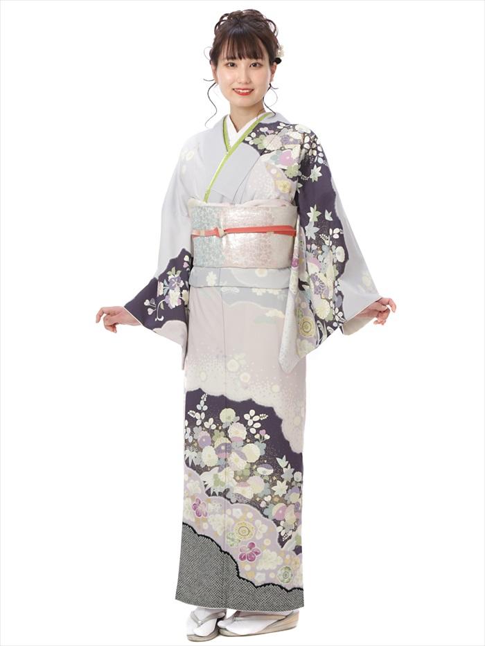 ジャパンスタイル JAPANSTYLE 訪問着 レンタル レンタル訪問着 訪問着レンタルフルセット モダン 紫 古典 149cm~167cm位まで 8AD375