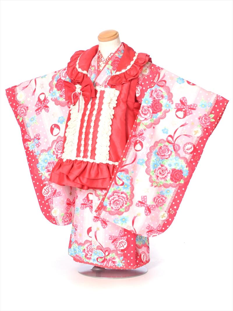 【レンタル】七五三レンタル 女児被布セットAP3056 SEIKO MATSUDA 女の子七五三 レンタル七五三 753レンタル 被布セット 三才 3歳 3才 女児 貸衣装 結婚式 フリル 三歳女の子  往復送料無料