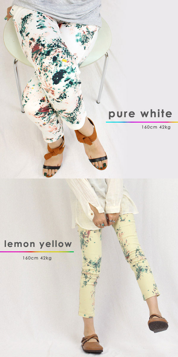 *Ankle beautiful woman * psychedelic paint pattern クロップドスキニーパギンス / ホワイトデニムペイントサイケペンキスキニーパギンス w3625-2 cloth with patterns stretch pants 50 ■■ *1/st