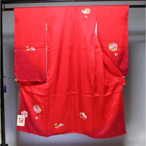 正絹七五三 晴れ着(振袖7歳用)四つ身 1656  刺繍
