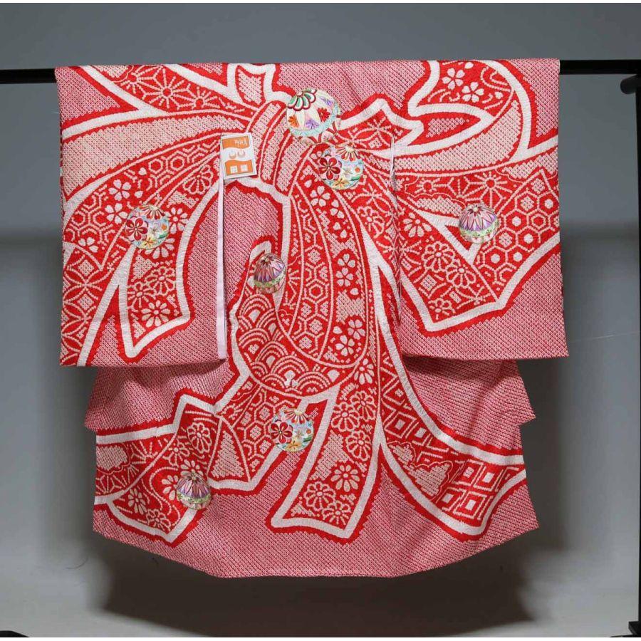 お宮参り祝着物(うぶぎ 掛け着物)女の子 本絞り 876 日本製タグ付き