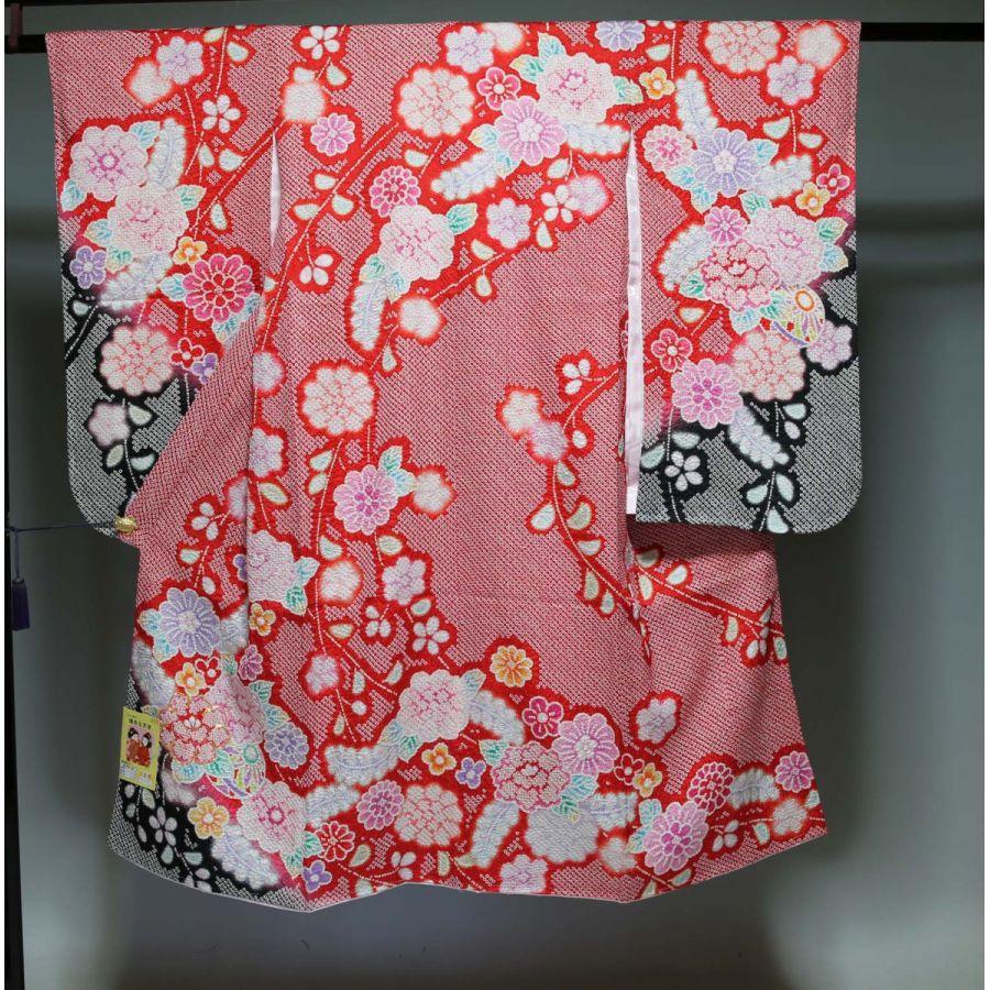 正絹七五三 晴れ着(振袖7歳用)四つ身 3201 総絞り日本製