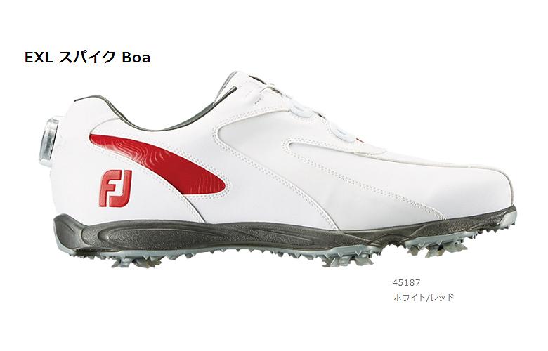 【★】New EXL Spike Boa (ニュー イーエックスエル スパイク Boa)【45187】ホワイト/レッド(W)FOOT JOY フットジョイ 日本モデル ゴルフシューズ【2019年NEW】