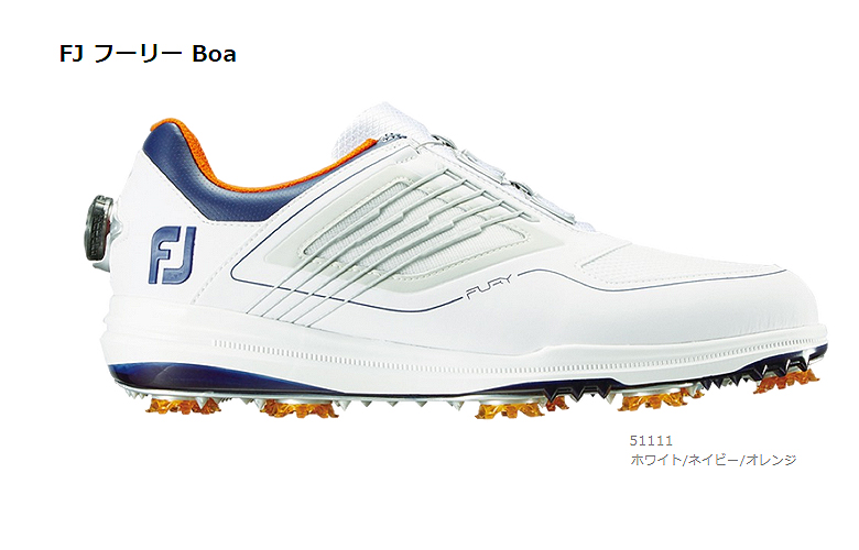【★】FJ FURY BOA (FJ フーリー Boa)【51111】ホワイト/ネイビー/オレンジ(W)FOOT JOY フットジョイ 日本モデル ゴルフシューズ【2019年NEW】