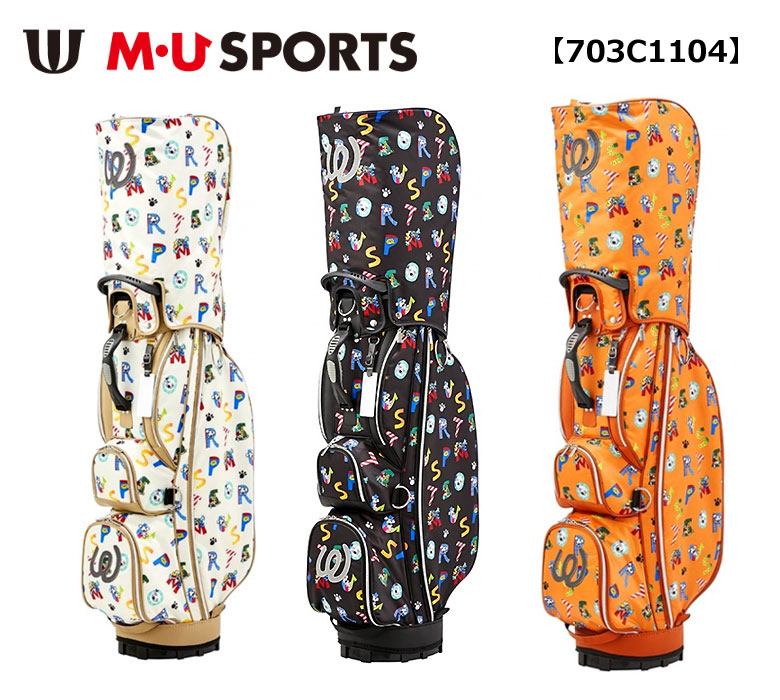 【◆】MU SPORTS キャディバッグ 【703C1104】 ロゴ総柄プリントキャディバッグ【2020年春夏モデル】M・U SPORTS MUスポーツ
