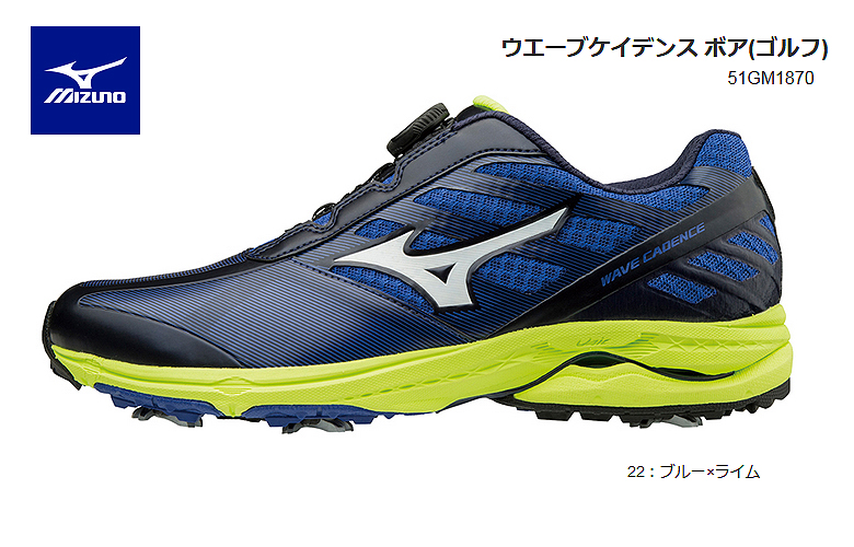 c24552c1550b It is blue X lime Mizuno golf shoes wave cadence boa Mizuno WAVE CADENCE  Boa EEE