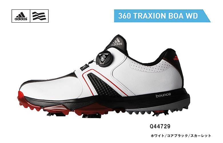 【★】アディダス 360 トラクション ボア WD【Q44729】adidas 360 Traxion BOA WDホワイト/コアブラック/スカーレット日本正規品 ゴルフシューズ