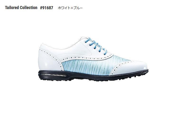 【★】テーラードコレクション【91687】ホワイト/ブルー(W)FOOT JOY TAILORED COLLECTIONフットジョイ 日本モデル レディースゴルフシューズ【2018年NEW】