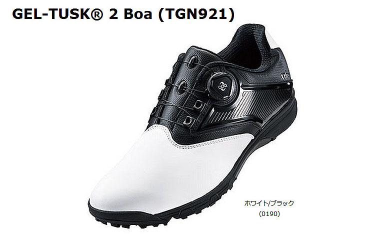 【★】【2017年モデル】ゲルタスク 2 ボアTGN921【0190:ホワイト/ブラック】DUNLOP×ASICS ゴルフシューズGEL-TUSK 2 Boa【tgn921】