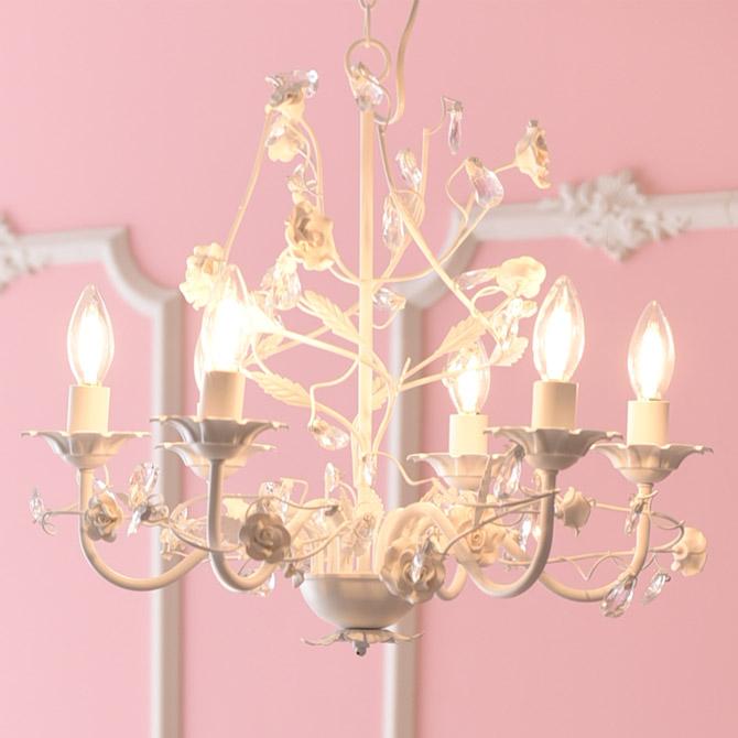 シャンデリア LED 電球対応 ホワイト シンプル アンティーク シーリング付き 6灯 ROSE お手軽 6灯シャンデリア 簡単取り付け 天井照明 おしゃれ 6畳 ダイニング リビング 姫系 プリンセス ローズ 薔薇 ロココ調 ヨーロピアン クラシック かわいい