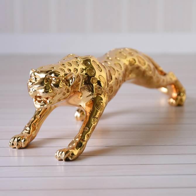 オブジェ モダン ゴールド 開運 躍動感溢れる ジャガーオブジェ L ヨーロピアン クラシック インテリア雑貨 かっこいい 置物 オーナメント ジャガー 動物 アニマル デザイン アンティーク調 おしゃれ