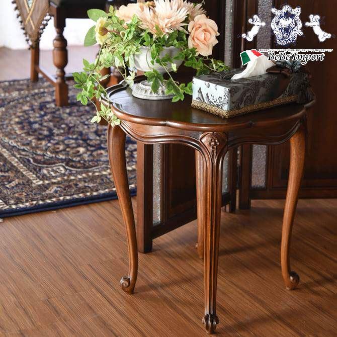イングランドアンティーク調オーク テーブルトレー 丸型 サイドテーブル ナイトテーブル 花台 机 オーク家具 英国調 クラシック ヨーロピアン クラシカル おしゃれ ぬくもり 滑らか 木目 曲線美 猫脚 ワークスペース 丸型 円形