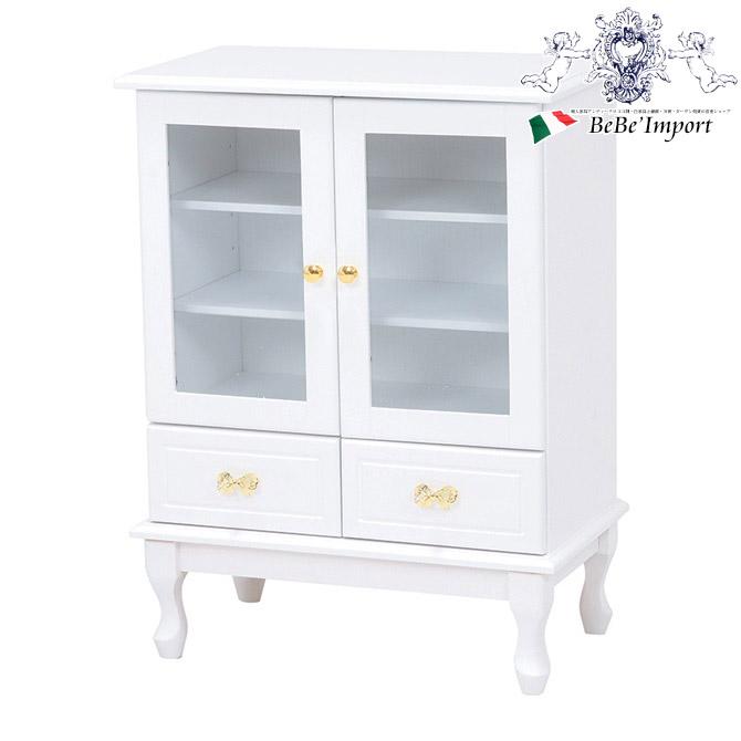 キャビネット(ホワイト)(2101705400)アンティーク調 輸入家具 リビング 収納 白 木製 姫系 リボンの取っ手 かわいい おしゃれ フレンチカントリー