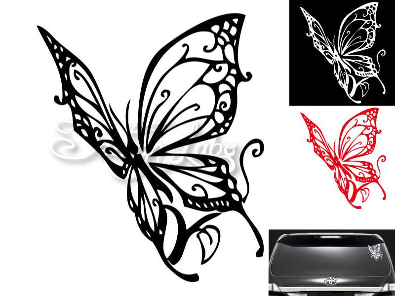 メール便対応商品 バタフライ type1 デザインカッティングステッカー カラーバリエーション有 安心の定価販売 黒 Butterfly 蝶 テレビで話題 大型 白 赤