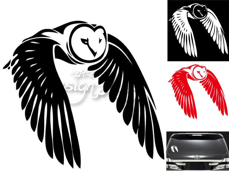 Im Trading Rakuten Ichiba Shop Large Black White Red Owl Design