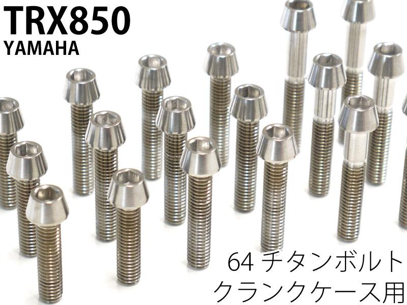 カスタム パーツ 新入荷 流行 TRX850 クランクケース用 64チタンボルトセット エンジンカバーボルト 正規逆輸入品 焼き色なし テーパーキャップ Ti-6Al-4V