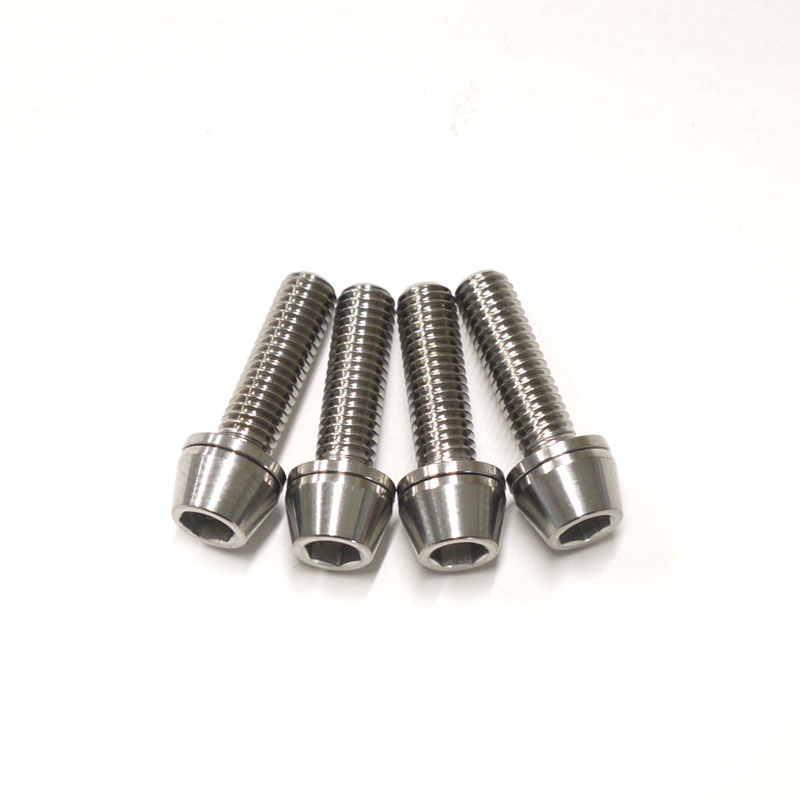 Fried colorless Ti - 6Al -4V Titanium with 64 titanium bolt taper cap M5  *18mm P0 8 four set washers