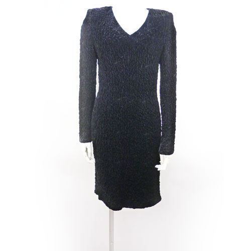 【クリスチャン・ディオール Dior】ワンピース フォーマル パーティードレス 長袖 黒 11号 レディース【中古:美品】