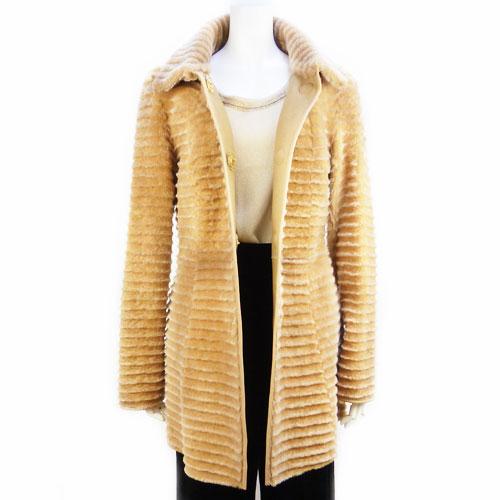 【エスカーダ ESCADA】美品 ラムスキン ロングコート キャメル 34サイズ アウター レディース 冬物 セール【中古】