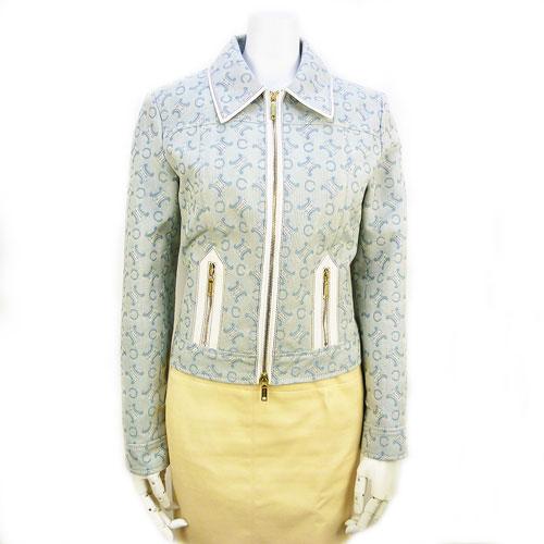【セリーヌ CELINE】ファスナー ジャケット 36サイズ 水色 アウター レディース【中古:美品】