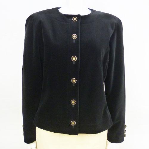 【クリスチャン・ディオール Dior】ノーカラージャケット ブラック 9号 アウター レディース【中古:超美品】