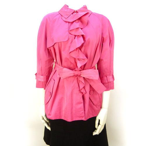 【エスカーダ ESCADA】超美品 ジャケット 七分袖 ピンク 34サイズ フリルデザイン アウター レディース【中古】
