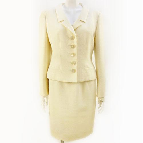 【クリスチャン・ディオール Christian Dior】アイボリー スカート テーラードジャケット セットアップ 入学式 レディース 9号 フォーマル【中古:良品】