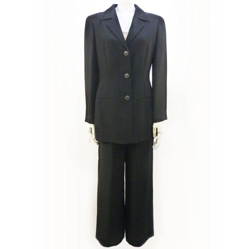 【クリツィア KRIZIA】黒 セットアップ パンツスーツ 40サイズ レディース フォーマルスーツ【中古:超美品】