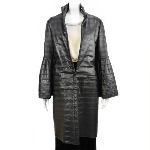 【エスカーダ ESCADA】超美品 超高級 ロングコート 34サイズ ブラック レディース アウター 冬物 セール【中古】