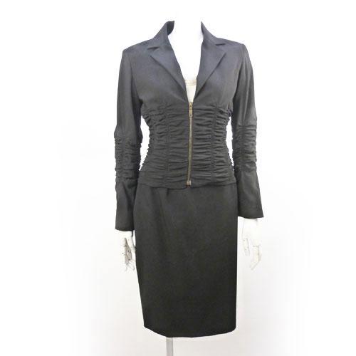 【セリーヌ CELINE】セットアップ スーツ タイトスカート 黒 36サイズ ベルト付き 38サイズ くしゅくしゅデザイン レディース【中古:美品】