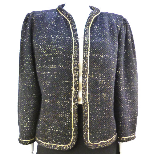 【クリスチャンディオール Christian Dior】美品 ノーカラー ジャケット 9号サイズ ブラック×ゴールド アウター レディース【中古】