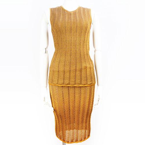 【ロエベ LOEWE】美品 ニット スカートセットアップ ノースリーブトップス Mサイズ スカートSサイズ オレンジ 【中古】