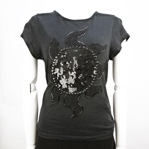 【ツインセット TWIN-SET】超美品 半袖Tシャツ Sサイズ ビジュー ブラック トップス【中古】