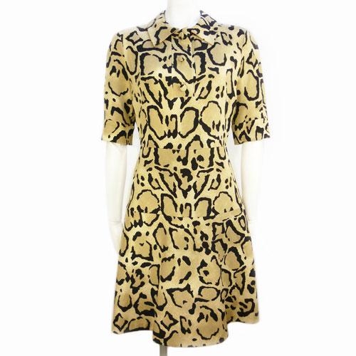 【グッチ GUCCI】超美品 高級シルク 襟付ワンピース 38サイズ レオパード柄 レディース【中古】
