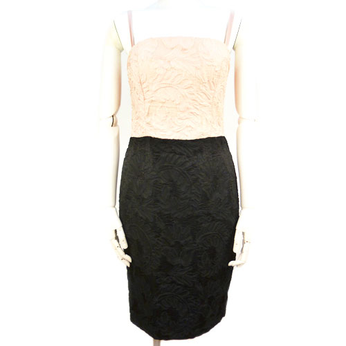 【エスカーダ ESCADA】美品 カップ付き バイカラー パーティドレス 34サイズ ピンク×ブラック 総柄 レディース 【中古】