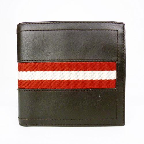 【中古】【送料無料】【BALLY バリー】2つ折り財布 メンズ ストライプ 赤×ベージュ ブラック トレインスポッティング