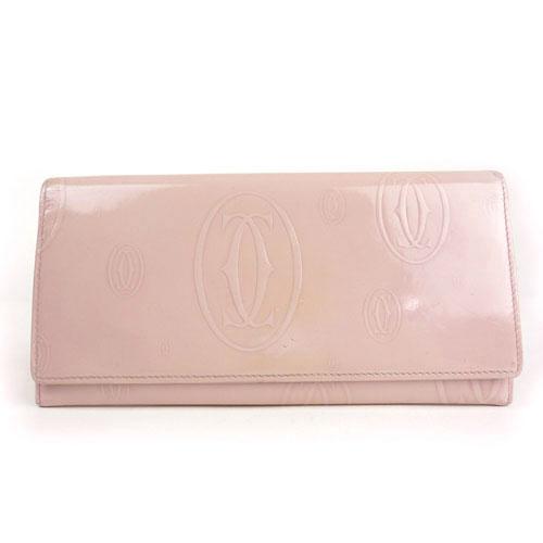 【Cartier カルティエ】L3000785 良品 ハッピーバースデー 2つ折り 長財布 ピンク パテントレザー【中古】