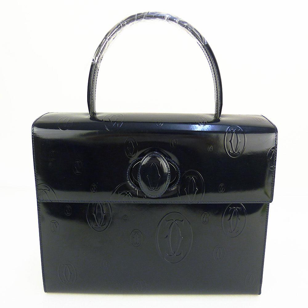 【中古】【送料無料】【Cartier カルティエ】ハッピーバースデー ハンドバッグ フラップバッグ パテントレザー 濃紺 ネイビー