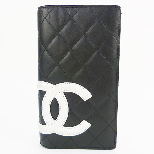 【CHANEL シャネル】良品 カンボンライン 2つ折り財布 ココマーク 黒×白 【中古】