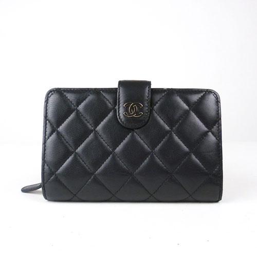 【中古】【送料無料】【CHANEL シャネル】マトラッセ ブラック 2つ折り財布