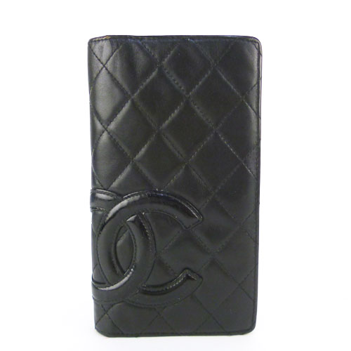 【CHANEL シャネル】良品 カンボンライン 2つ折り財布 ココマーク 黒×黒 【中古】