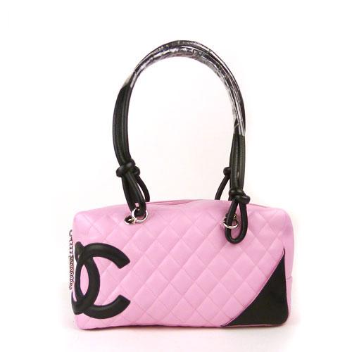 【中古】【送料無料】【CHANEL シャネル】カンボンライン ボーリングバッグ ピンク