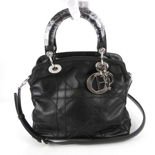 【中古】【送料無料】【Christian Dior クリスチャン・ディオール】カナージュ 2WAYバッグ ハンドバッグ グランヴィル 黒 シープスキン