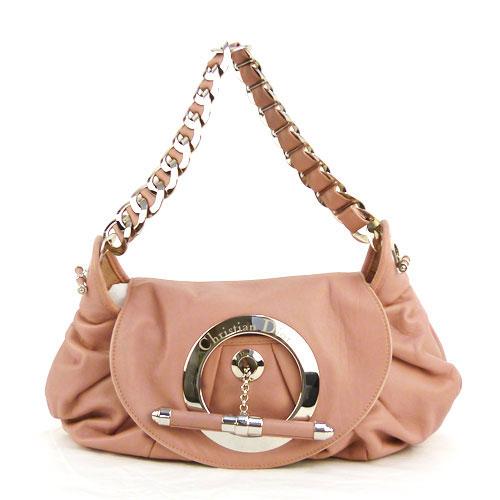 【中古】【送料無料】【Christian Dior クリスチャン・ディオール】レザー チェーン ショルダーバッグ ピンク