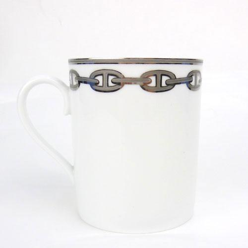 【中古】【送料無料】【HERMES エルメス】シェーヌダンクル プラチナ Chaine d'ancre Platine マグカップ イカリのチェーン柄