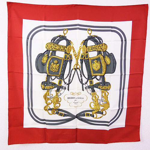 【中古】【送料無料】【HERMES エルメス】スカーフ カレ90 BRIDES de GALA 赤×白 シルク100%
