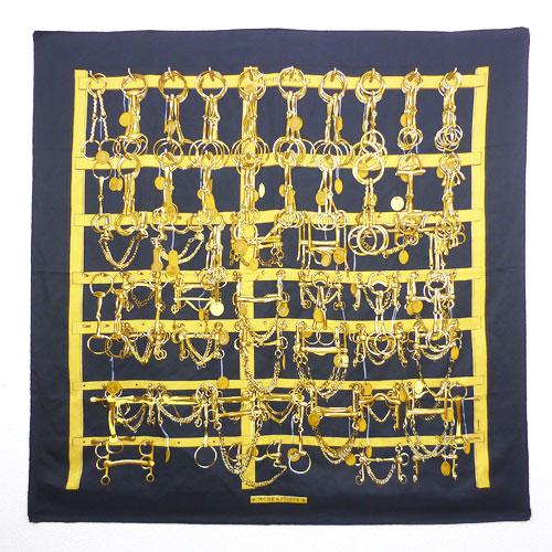 【HERMES エルメス】美品 スカーフ カレ90 MORS & FILETS 黒×黄 シルク 絹 馬具 ビット レディース【中古】
