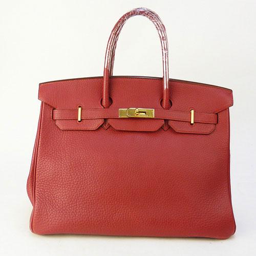 【中古】【送料無料】【HERMES エルメス】バーキン35 赤 ハンドバッグ